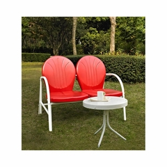 Griffith 2 Piece Metal Outdoor Conversation Set - Red Loveseat and Side Table - CROSLEY-KO10006RE