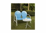 Griffith 2 Piece Metal Outdoor Conversation Set - Sky Blue Loveseat and Side Table - CROSLEY-KO10006BL
