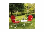 Griffith 3 Piece Metal Outdoor Conversation Set - 2 Chairs in Red with White Side Table - CROSLEY-KO10004RE