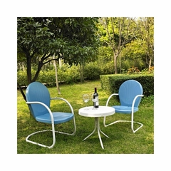 Griffith 3 Piece Metal Outdoor Conversation Set - 2 Chairs in Sky Blue with White Side Table - CROSLEY-KO10004BL