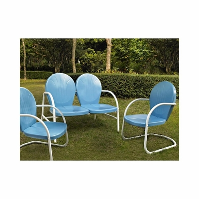 Griffith 3 Piece Metal Outdoor Conversation Set - Loveseat and 2 Chairs in Sky Blue - CROSLEY-KO10002BL