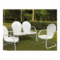 Griffith 3 Piece Metal Outdoor Conversation Set - Loveseat and 2 Chairs in White - CROSLEY-KO10002WH