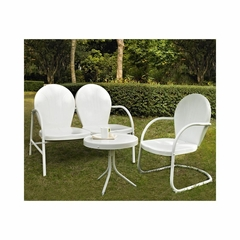 Griffith 3 Piece Metal Outdoor Conversation Set - Loveseat and Chair in White with Side Table - CROSLEY-KO10003WH