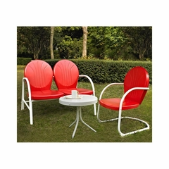 Griffith 3 Piece Metal Outdoor Conversation Set - Red Loveseat and Chair with White Side Table - CROSLEY-KO10003RE