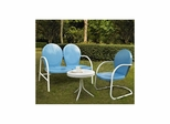 Griffith 3 Piece Metal Outdoor Conversation Set - Sky Blue Loveseat and Chair with White Side Table - CROSLEY-KO10003BL