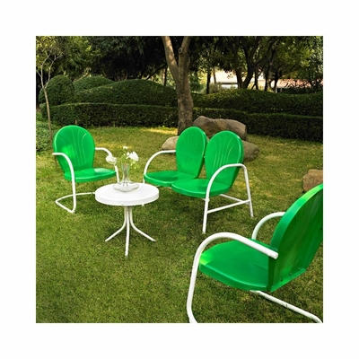 Griffith 4 Piece Metal Outdoor Conversation Set - Grasshopper Green Loveseat and Chairs, White Side Table - CROSLEY-KO10001GR