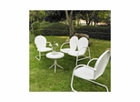 Griffith 4 Piece Metal Outdoor Conversation Set - Loveseat and 2 Chairs in White with Side Table - CROSLEY-KO10001WH