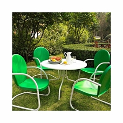 "Griffith Metal 40"" Five Piece Outdoor Dining Set - White Dining Table with Grasshopper Green Chairs - CROSLEY-KOD1001WH"