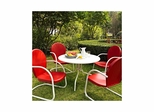 "Griffith Metal 40"" Five Piece Outdoor Dining Set - White Dining Table with Red Chairs - CROSLEY-KOD1003WH"