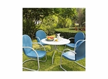 "Griffith Metal 40"" Five Piece Outdoor Dining Set - White Dining Table with Sky Blue Chairs - CROSLEY-KOD1002WH"