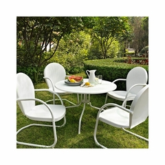 "Griffith Metal 40"" Five Piece Outdoor Dining Set - White Dining Table with White Chairs - CROSLEY-KOD1004WH"