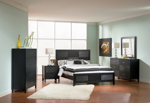 Grove California King Size Bedroom Furniture Set in Black - Coaster - 201651KW-BSET
