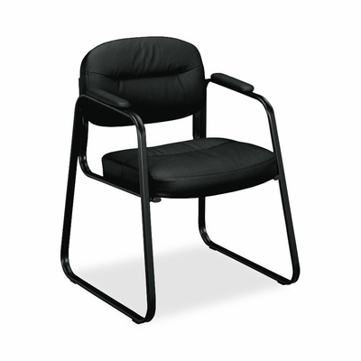 Guest Chair - Black Frame/Black Leather - BSXVL653ST11