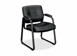 Guest Chair - Black Leather/Black Frame - BSXVL693SP11