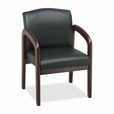 Guest Chair - Black/Mahogany Frame - LLR60471