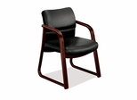 Guest Chair - Black Vinyl/Mahogany Base - HON2903NEE11