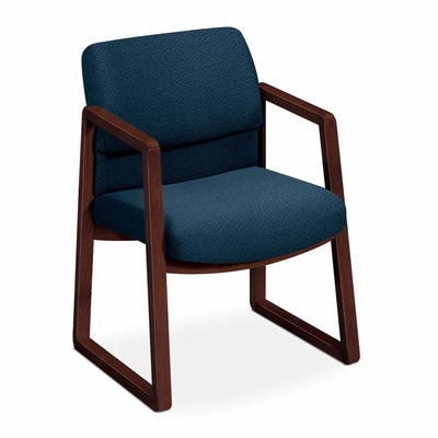 Guest  Chair - Blue Fabric/Mahogany Frame - HON2403NAB90