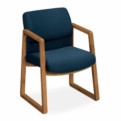 Guest Chair - Blue Fabric/Medium Oak Frame - HON2403MAB90