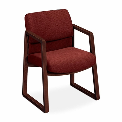 Guest Chair - Burgundy Fabric/Mahogany Frame - HON2403NAB62