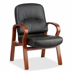 Guest Chair - Cherry/Black Leather - LLR60337