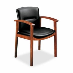 Guest Chair - Harvest Cherry/Black Leather - HON5003JSS11