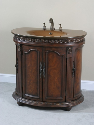 Half Round Tempered Vanity in Walnut Burl - Ultimate Accents - 13604S