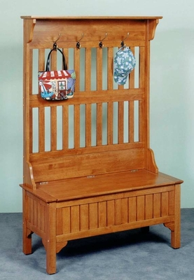 Hall Tree in Solid Wood with Full Storage Entry Bench in Cottage Oak Finish - 5649-49