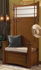 "Hall Tree with Storage Bench - ""Mission Oak"" - Powell Furniture - 993-259"
