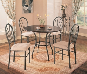 Halle 5-Piece Dining Set in Rich Dark Brown / Metal Base - Coaster - 120568