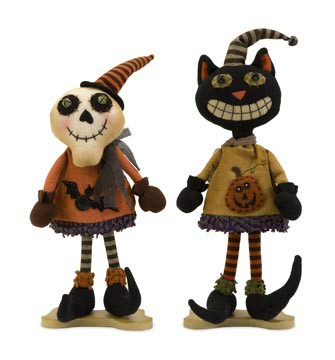 Halloween Standing Ghost and Cat (Set of 2) - IMAX - 57341-2