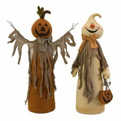 Halloween Standing Ghost and Pumpkin Decor (Set of 2) - IMAX - 57348-2