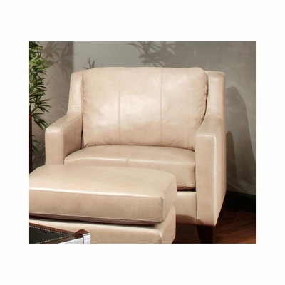 Hancock Club Chair Putty Leather with Merlot Legs - Largo - LARGO-ST-L2537-403