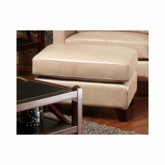 Hancock Ottoman Putty Leather with Merlot Legs - Largo - LARGO-ST-L2537-404