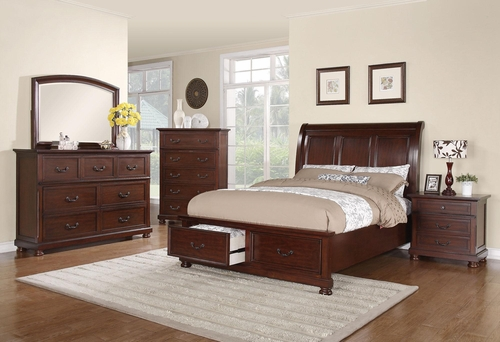Hannah 5PC Queen Bedroom Set in Brown Cherry - 200831Q