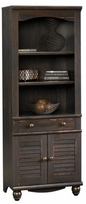 Harbor View Antiqued Paint Library Bookcase with Doors - Sauder Furniture - 401632