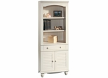 Harbor View Library Bookcase with Doors Antiqued White - Sauder Furniture - 158082