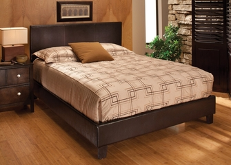Harbortown Queen Size Platform Bed in Brown Vinyl - Hillsdale Furniture - 1611BQR