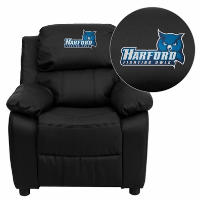 Harford Community College Fighting Owls Black Leather Kids Recliner - BT-7985-KID-BK-LEA-41037-EMB-GG