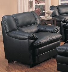 Harper Black Overstuffed Leather Chair - 501923