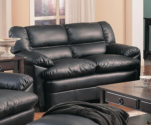 Harper Overstuffed Leather Loveseat - 501922