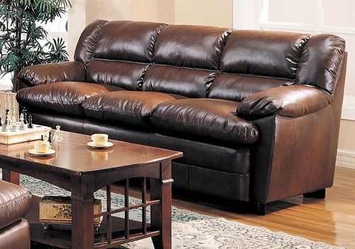Harper Overstuffed Leather Sofa - 501911
