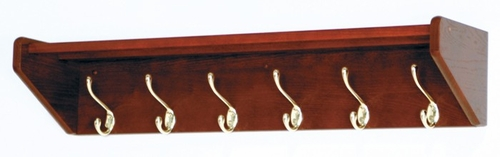 Hat and Coat Tree with 6 Brass Hooks - Wooden Mallet Office Furniture - 36HCRMH