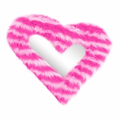 Heart Furr Mirror Pink Stripe - Lumisource