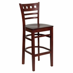HERCULES American Back Wood Restaurant Bar Stool - Mahogany Finish - XU-DGW0030BARAMR-MAH-GG