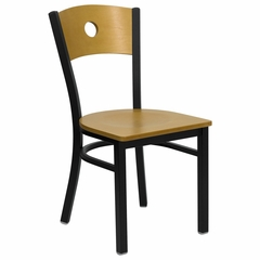 HERCULES Black Circle Back Black Metal Chair with Natural Wood Seat and Back - XU-DG-6F2B-CIR-NATW-GG