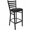 HERCULES Black Ladder Back Metal Bar Stool with Black Vinyl Seat - XU-DG697BLAD-BAR-BLKV-GG