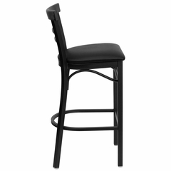 HERCULES Black Ladder Back Metal Bar Stool with Black Vinyl Seat - XU-DG6R9BLAD-BAR-BLKV-GG