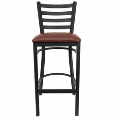 HERCULES Black Ladder Back Metal Bar Stool with Burgundy Vinyl Seat - XU-DG697BLAD-BAR-BURV-GG