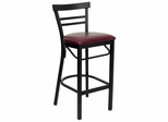 HERCULES Black Ladder Back Metal Bar Stool with Burgundy Vinyl Seat - XU-DG6R9BLAD-BAR-BURV-GG