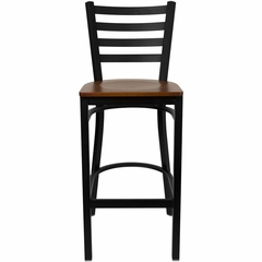 HERCULES Black Ladder Back Metal Bar Stool with Cherry Wood Seat - XU-DG697BLAD-BAR-CHYW-GG